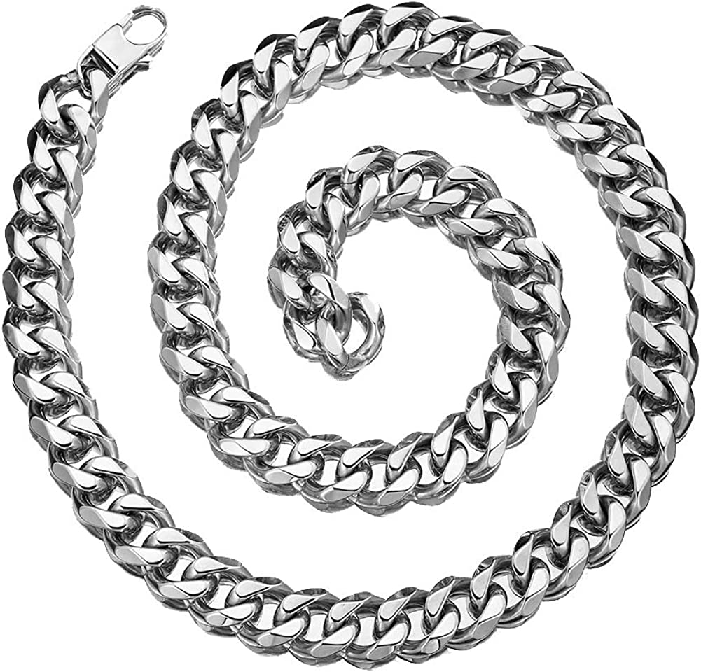 MUYING JEWELRY Hip Hop 12//15//17//19mm Stainless Steel Silver Curb Cuban Link Chain Collar Choker Xxxtentacion Miami Rapper Necklace for Men