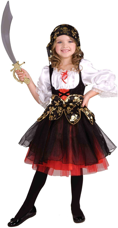 """Tante Tina Costume Bambina """"Piratessa"""" - 2 Pezzi – Nero/Bianco/Rosso – Tg. 152 (10-12 Anni)"""
