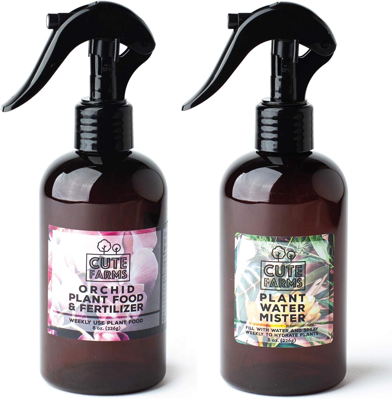 Cute Farms Orchid Plant Food Fertilizer Mist (8 oz. Spray Bottle + ONE Water Mister)