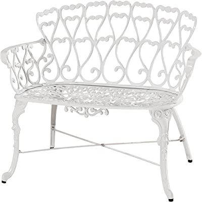 Antique Victorian Cast Aluminum Patio Dining Loveseat / Bench - White Heart Product SKU: PF01022B