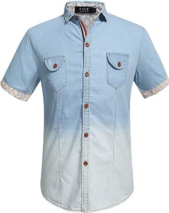SSLR Camisa vaquera de manga corta casual con botones para hombre - Azul - X-Large: Amazon.es: Ropa y accesorios