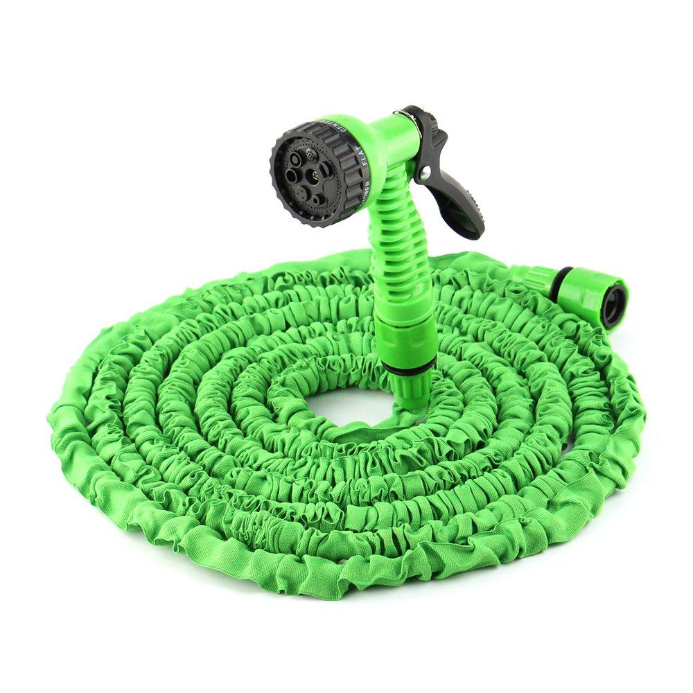 Manguera extensible 15m / 50 pies | Manguera agua flexible para y riego jardín con pistola chorro | Fácil de guardar | Interior con triple capa de látex ...