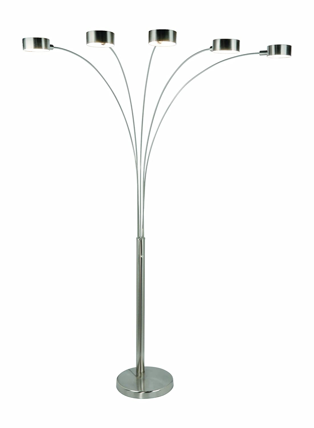 amazoncom artiva usa micah modern u0026 stylish 5 arc brushed steel floor lamp w dimmer switch 360 degree rotatable shades dim options bright