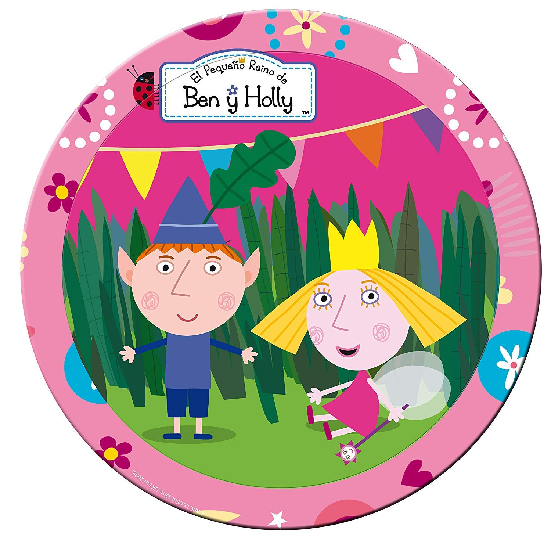 ALMACENESADAN 2273; Pack Desechables Fiesta o cumpleaños Ben y Holly; 8 Platos 23 cm y 20 servilletas