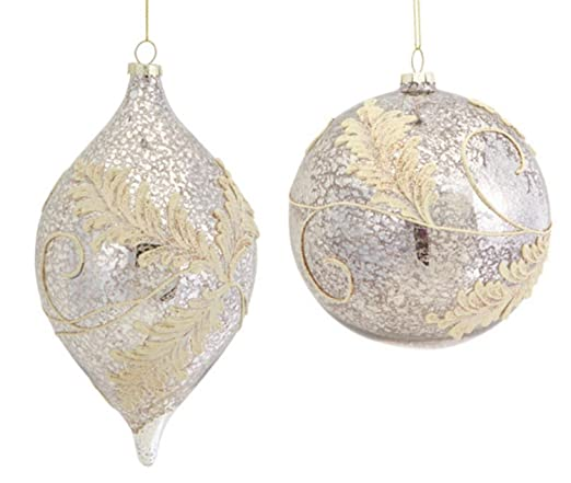 Christmas Tablescape Decor - Beautiful & elegant silver mercury glass ball & shuttle Christmas ornaments with gold lace flourish embellishments