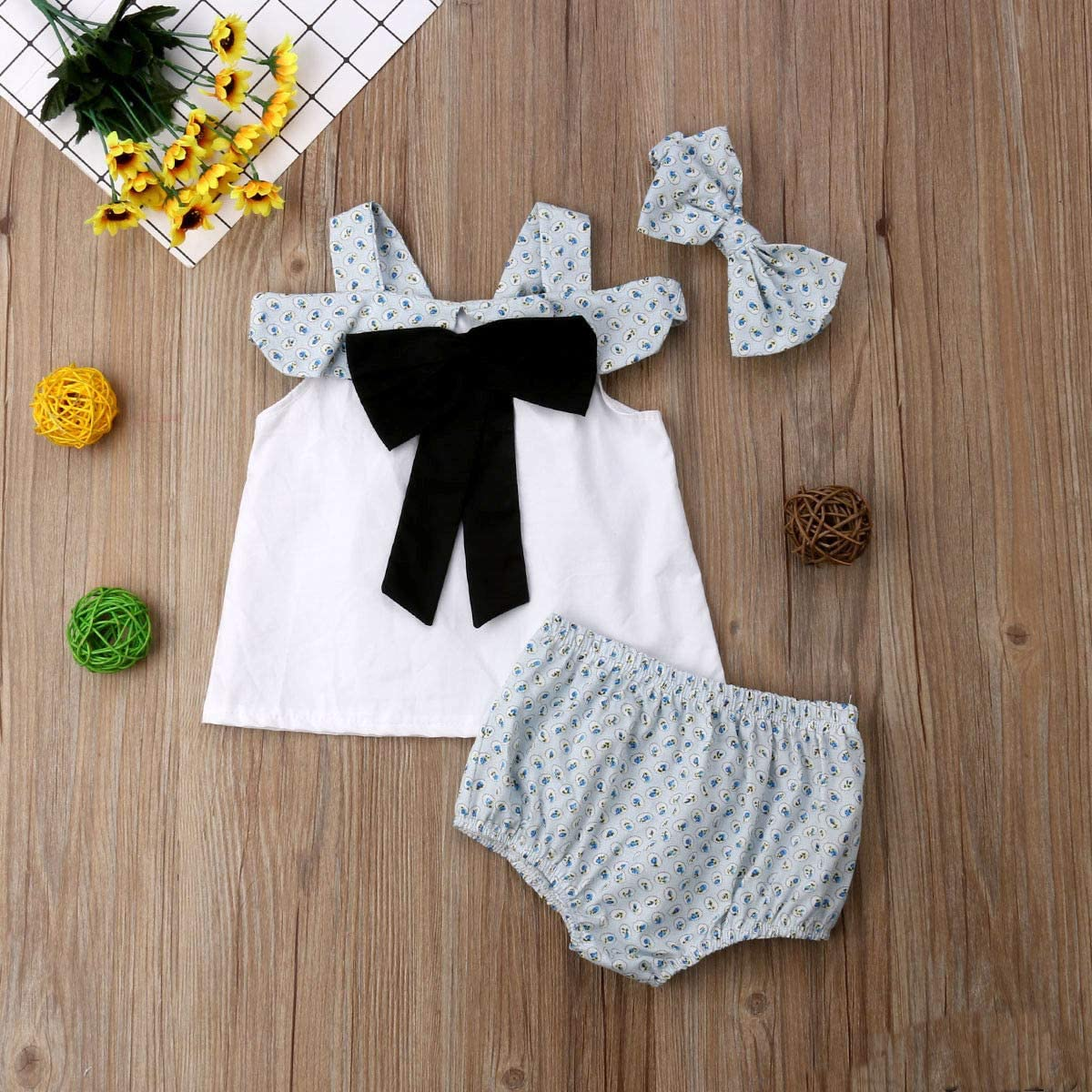 Infant Toddler Baby Girls Off Shoulder Bowknot Top with Bloomer Short and Headband 3pcs Outfits