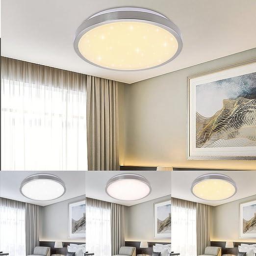 Vgo plafón LED salón lámpara de cocina Starlight efecto techo iluminación lustre dormitorio comedor de bajo consumo (16W Redonda Cambio De Color)