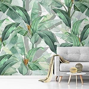 Murwall Banana Leaf Wallpaper Tropical Leaves Wall Mural Leaf Pattern Wall Print Botanical Home Decor Living Room Bedroom Entryway