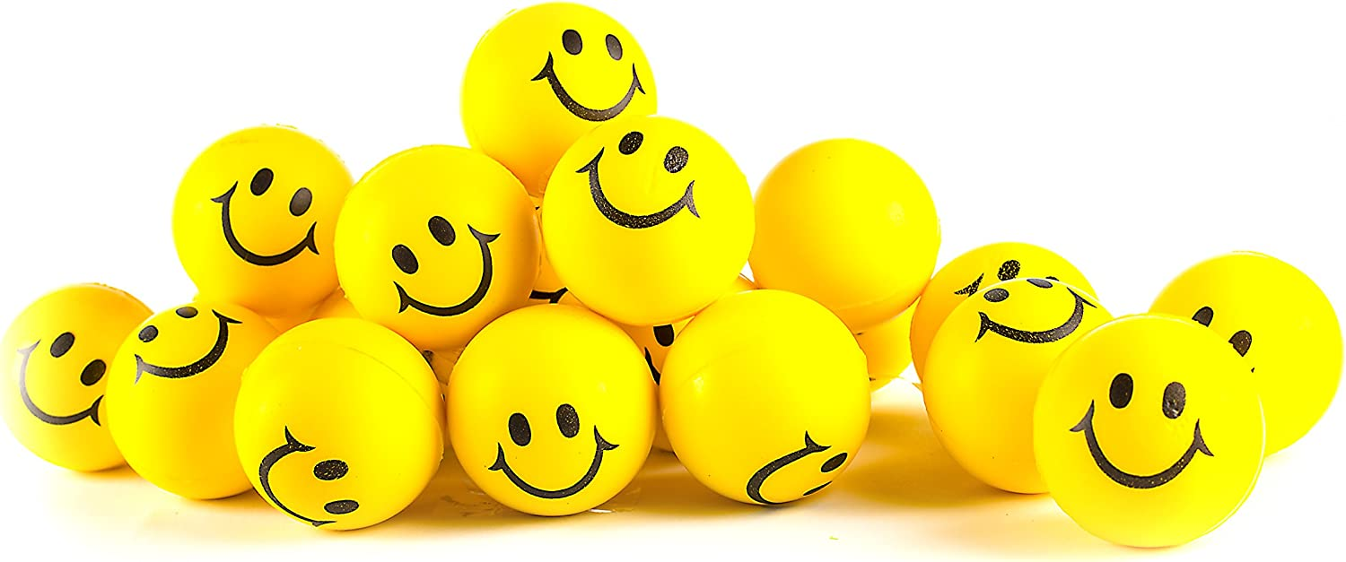 Neliblu Why Worry? Be Happy! Neon Yellow Smile Funny Face Stress Balls - Happy Smile Face Stress Balls for Kids and Adult Anxiety Relief - Bulk Pack of 24 2