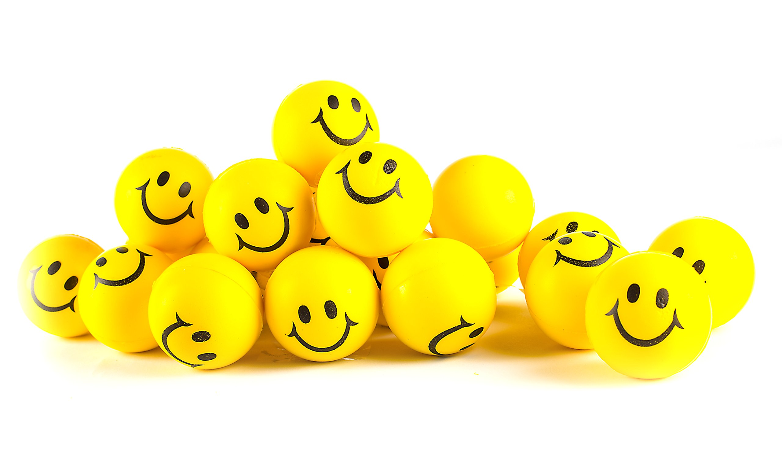 Neliblu Why Worry? Be Happy! Neon Yellow Smile Funny Face Stress Balls - Happy Smiley Face Stress Balls Bulk Pack of 24 2'' Stress Relief Smile Squeeze Balls - Christmas Stocking Stuffers - Fun Toys