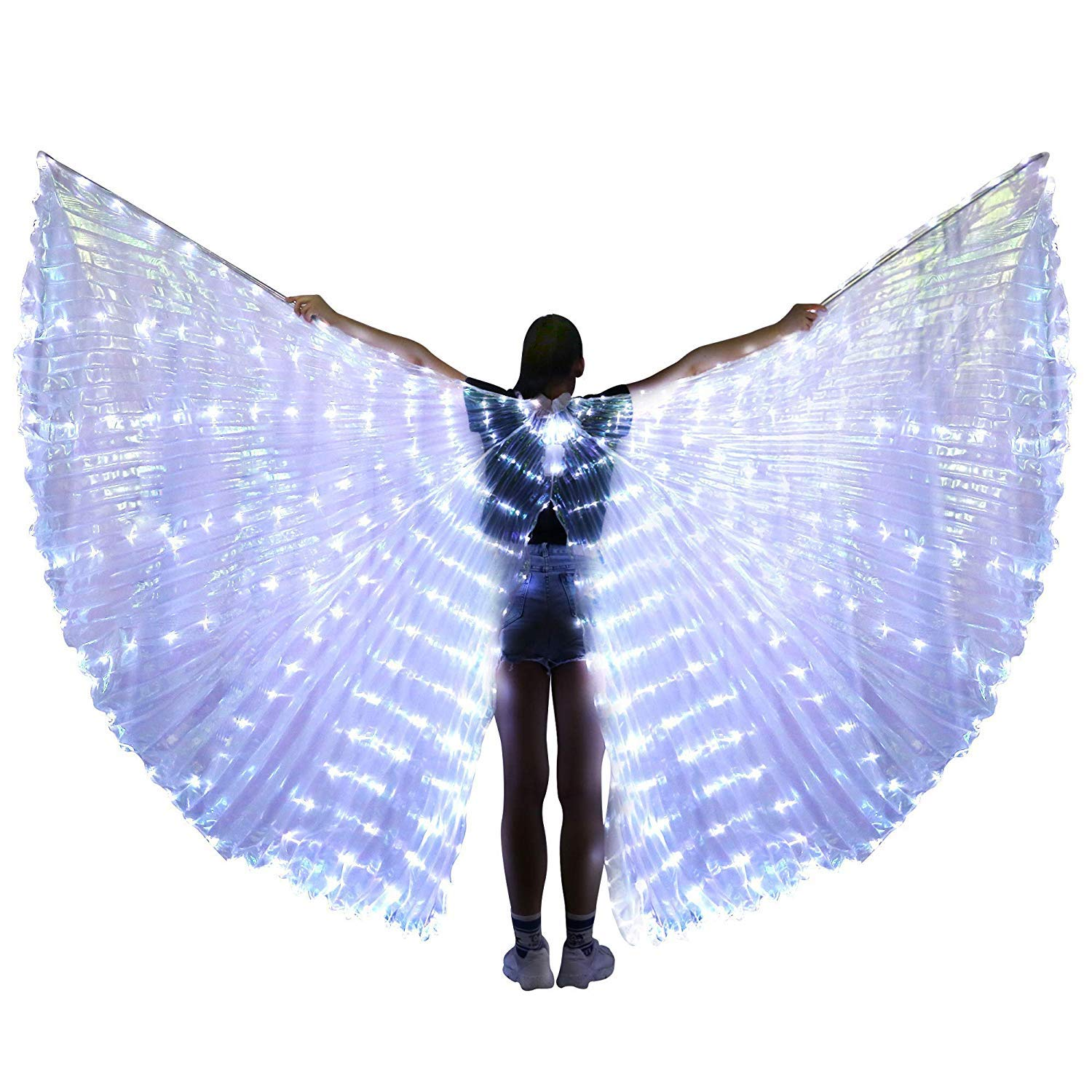 xiaoxiaoland εїз Belly Dance Wing with Rods-360 Degree Angel Wings with Portable Telescopic Sticks for Adults and Child,Whiteopeningwing-382 by xiaoxiaoland