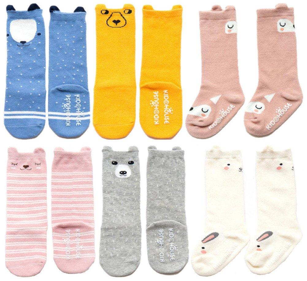 Unisex Baby Socks QandSweet 6 Pairs Non-Slip Knee-High Stockings for Toddler Boy Girls 2-4T