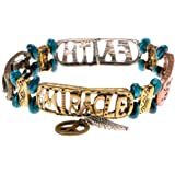 ZLYC Women Metal Have Faith Pendant Stretch Bracelet Inspiration Quote Bangle with Charms