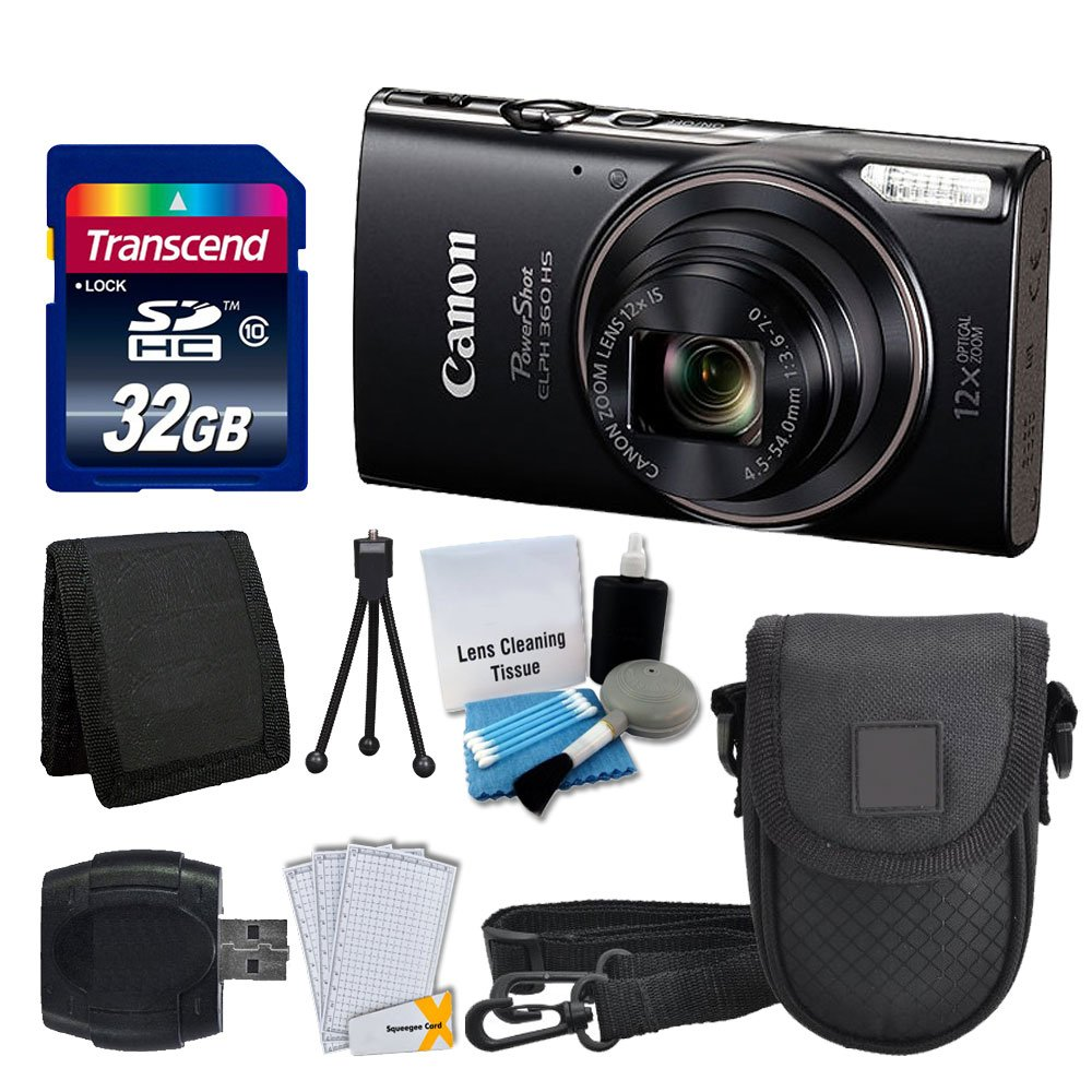 Canon PowerShot ELPH 360 HS Digital Camera (Black) + Transcend 32GB Memory Card + Camera Case + USB Card Reader + LCD Screen Protectors + Memory Card Wallet + Complete Accessory Bundle by PHOTO4LESS