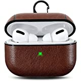 Blast Inn Leather Skin Fit Vintage Matte Leather Hook Case Cover Compatible with Apple Airpods Pro - Dark Brown