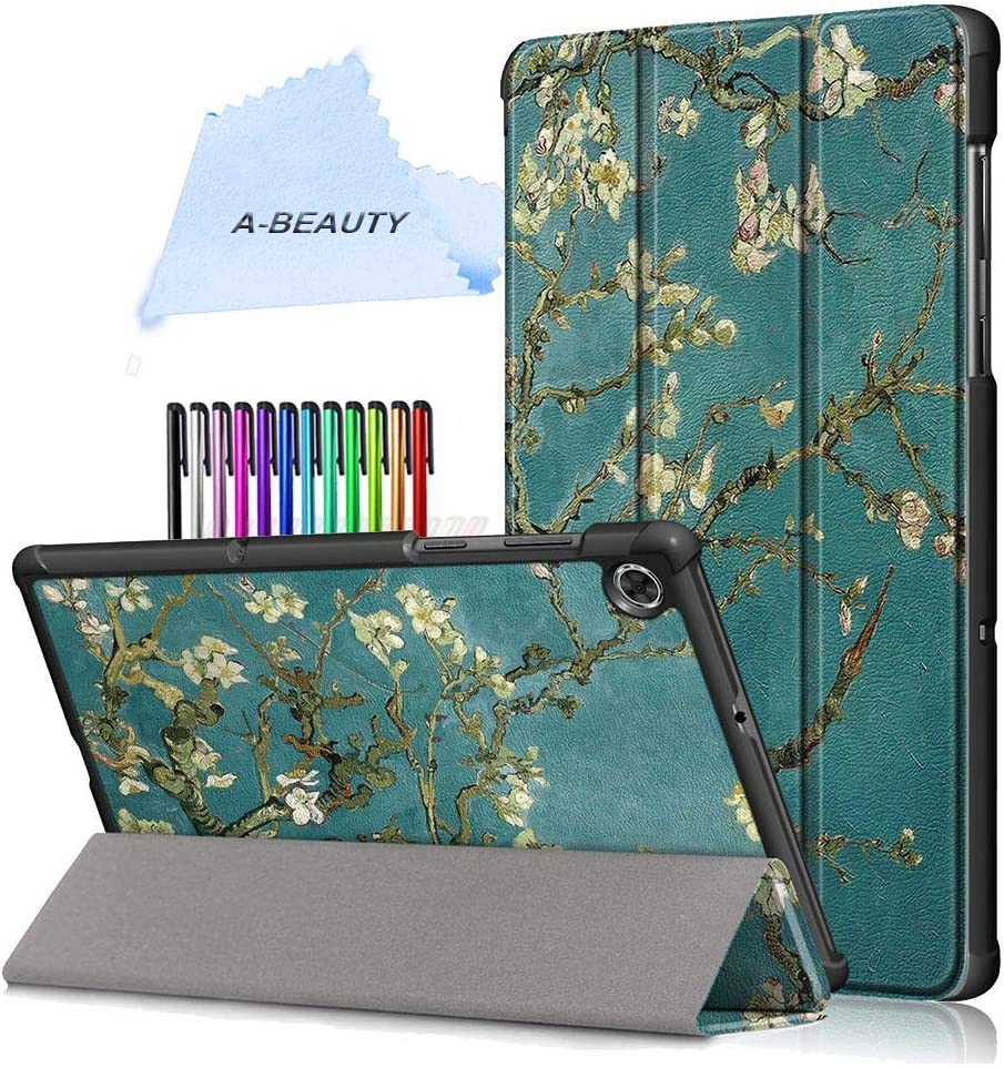 """A-BEAUTY Case for Lenovo Tab M10 FHD Plus TB-X606F/TB-X606X 10.3"""" 2020 with Screen Protector, Smart Stand Cover Ultra Slim Shell Shockproof with Auto Sleep/Wake, Apricot Blossom"""