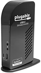 Plugable USB-C Triple Display Docking Station with Charging Support Power Delivery for Specific Windows USB Type-C and Thunderbolt 3 Systems (2X HDMI and 1x DVI Outputs, 5X USB Ports, 60W USB PD)