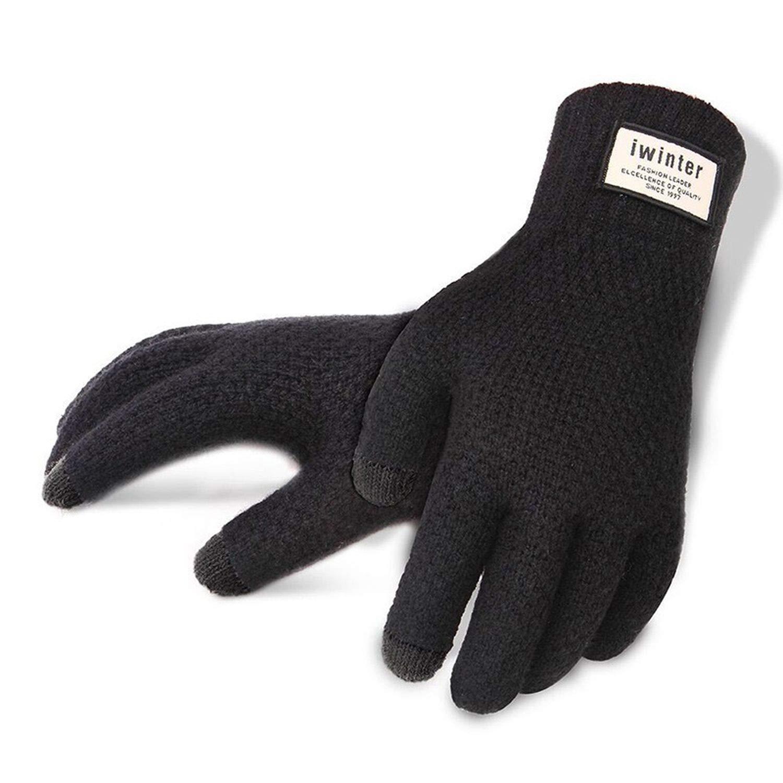 Winter Autumn Men Knitted Gloves Touch Screen Male Thicken Warm Wool Cashmere Gloves