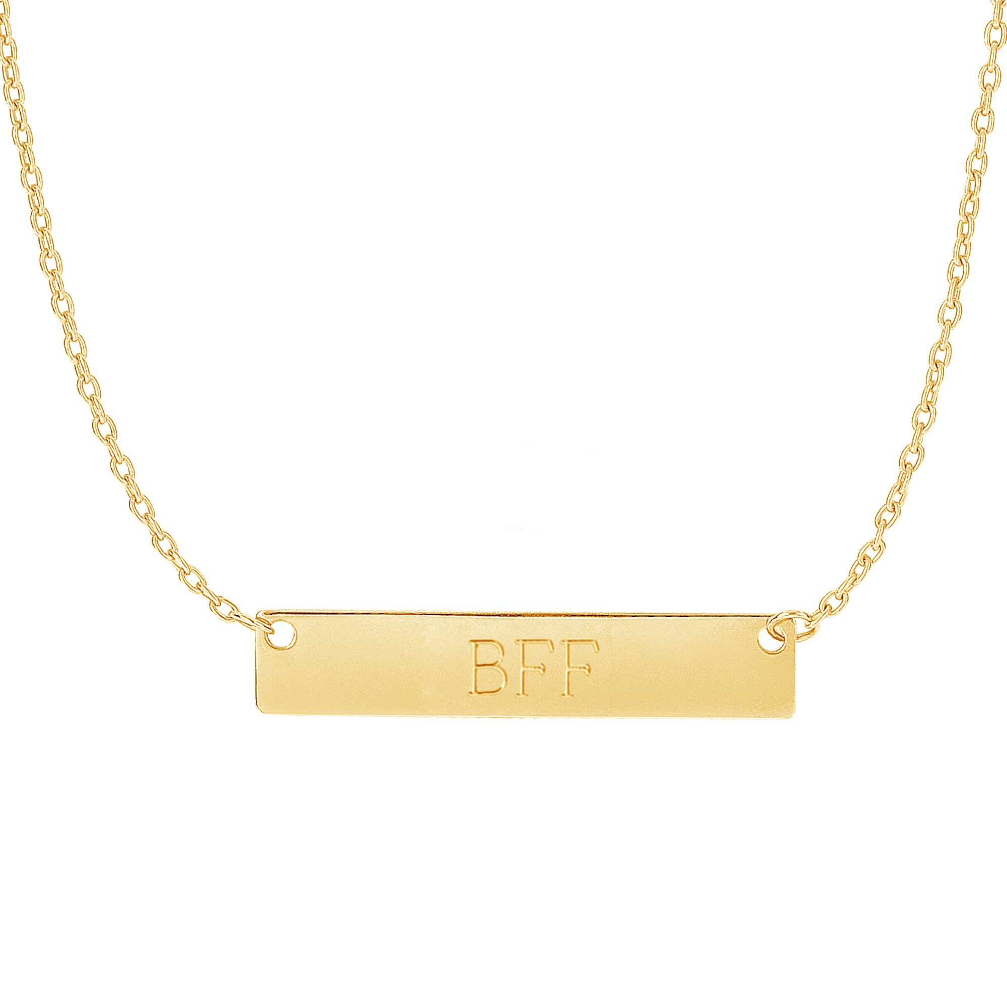 14k Yellow Gold Bar Pendant Name Plate with Front and Back Engraving Adjustable Necklace 16 to 18 Inches