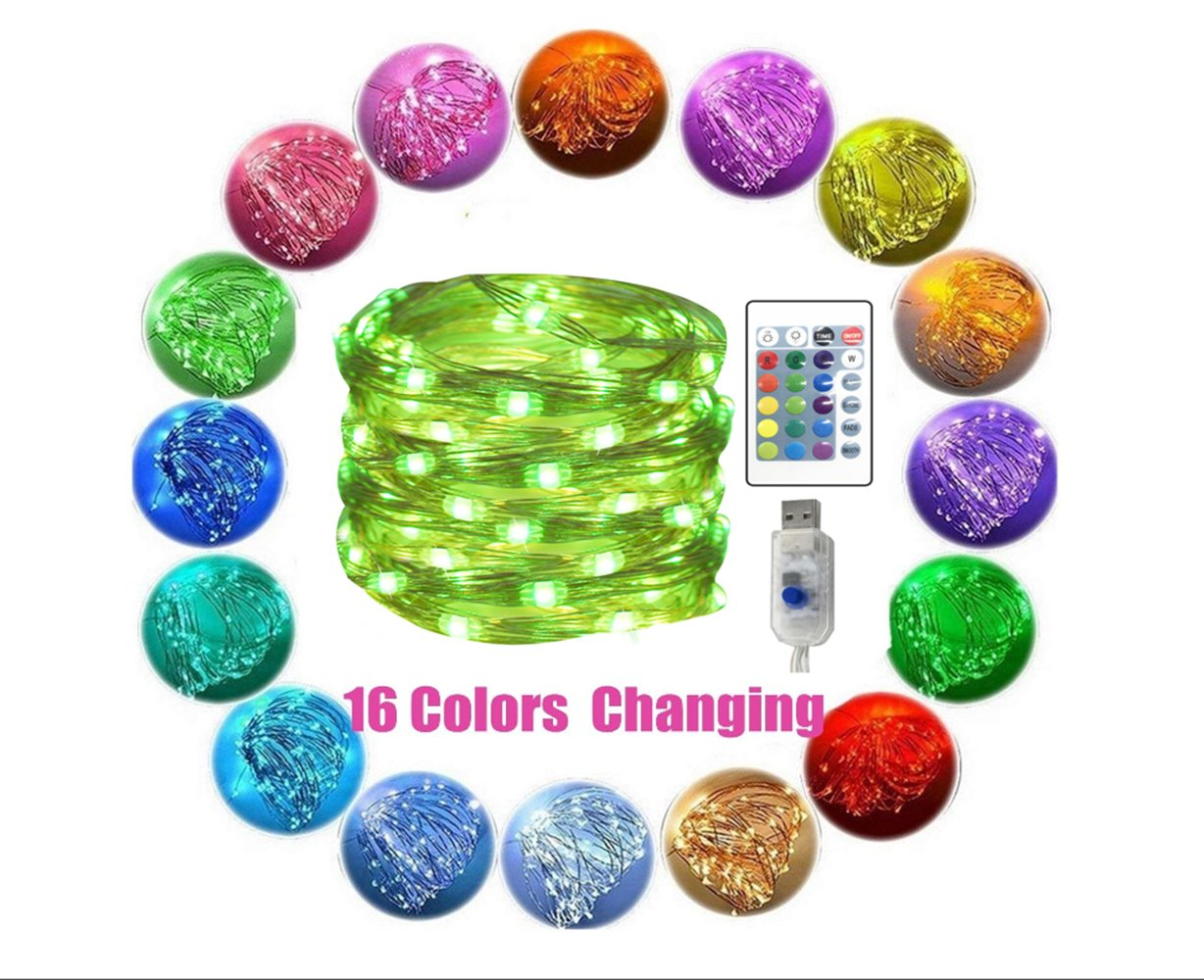 BLDUL Fairy Lights Color Changing String Lights with Remote Timer USB Powered Starry Lights Firefly Twinkle Lights for Bedroom Party Decoration Wedding 10m 100light (10M 100LEDS)