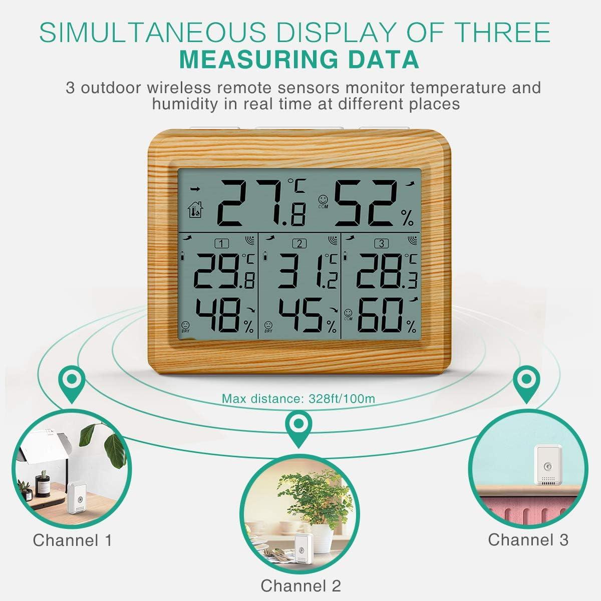 Oria Termometro Igrometro Digitale Wireless Legno, Giallo ...