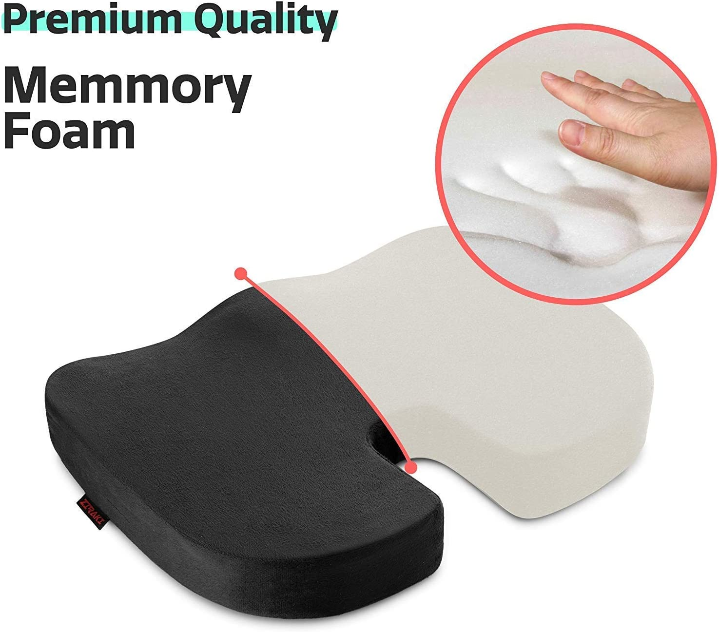 Ziraki Coccyx Seat Cushion Orthopedic, Luxury Chair Pillow, 100% Memory Foam, For Back Pain Relief & Sciatica & Tailbone Pain Back Support - Ideal Gift For Home Office Chair & Car Driver Seat Pillow: Furniture & Decor