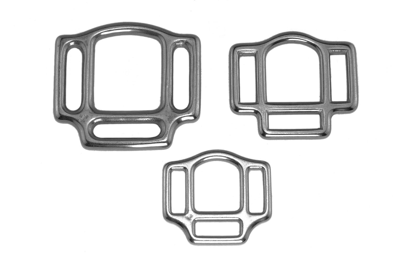 2 x Halfterringe aus Edelstahl – dreifach / 3-fach / silber / 3 Größen LENNIE-Equipment