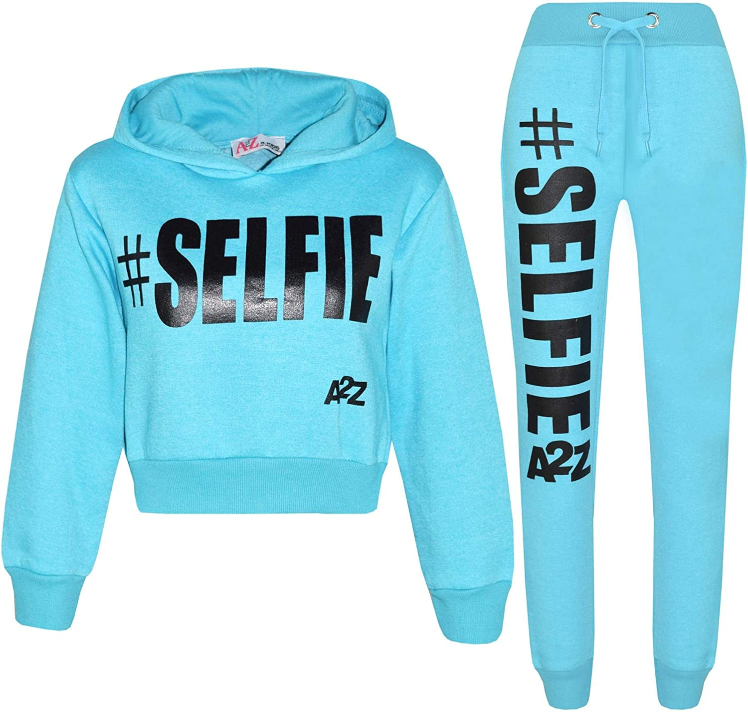 A2Z 4 Kids Kids Girls Boys Tracksuit Designers Blue #Selfie Embroidered Zipped Top Hoodie /& Botom Jogging Suit Joggers Age 5 6 7 8 9 10 11 12 13 Years