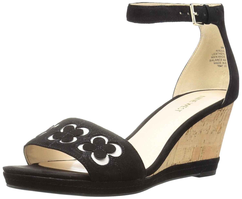 Nine West Women's Julian Leather Wedge Sandal B01N5AQUE1 10 B(M) US|Black