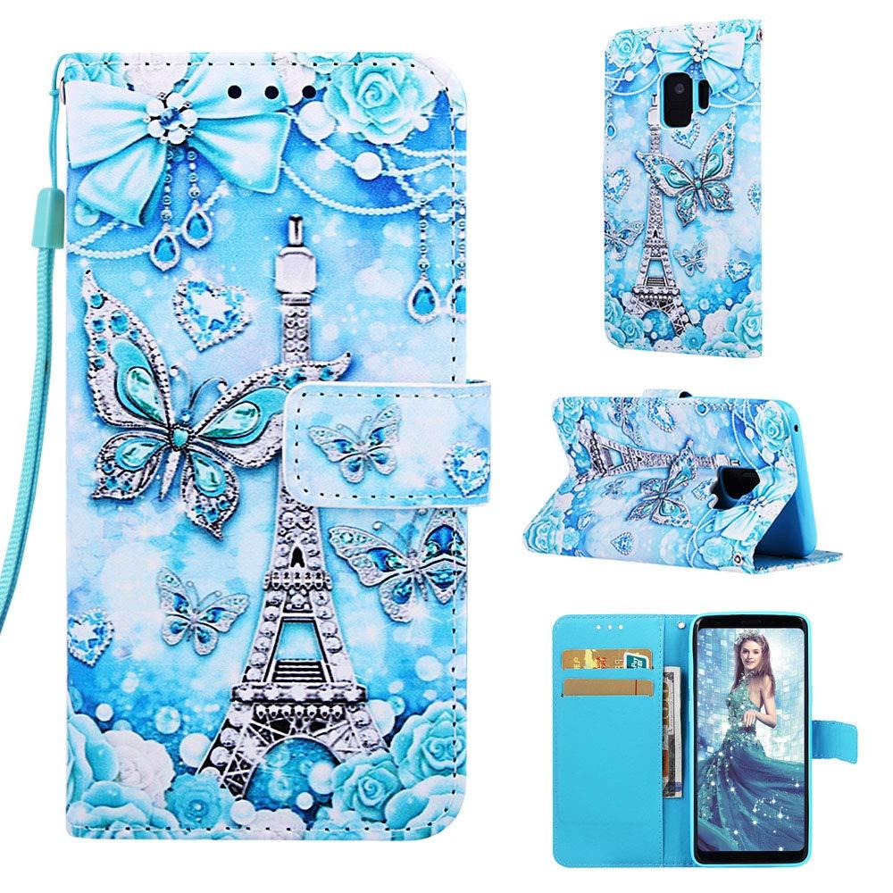 Miagon f/ür Samsung Galaxy S9 Leder H/ülle,Klapph/ülle mit Kartenfach Brieftasche Lederh/ülle Stossfest Handy H/ülle Klappbar,Katze Hund Kuss