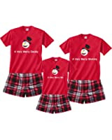 A Very Merry Family Boxer Pajamas - Personalized Christmas Snowman