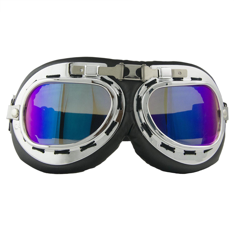 Motorradbrille Motorrad Schutzbrille Raf Aviator Vintage Pilot Biker Cruiser Fliegerbrille Windproof Sun UV Helmmaske Eyewear Sport Skibrille Schutzbrille Dekoration Requisiten (Bunt)