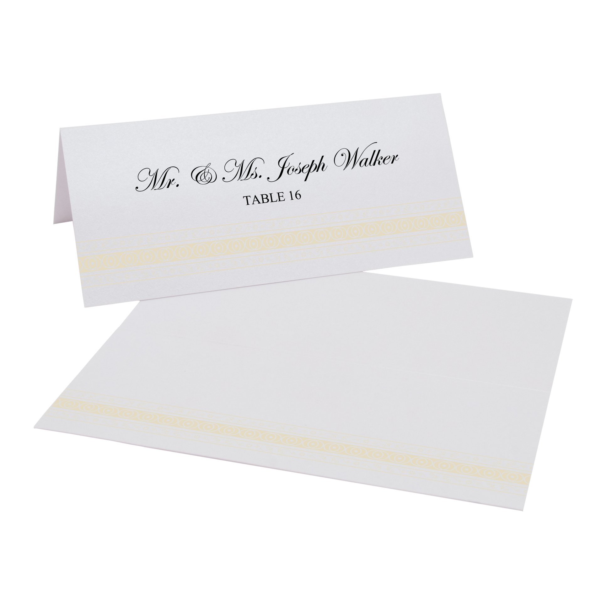 Mumbai Inspired Border Easy Print Place Cards, Pearl White, Ivory, Set of 375 (94 Sheets) by Documents and Designs