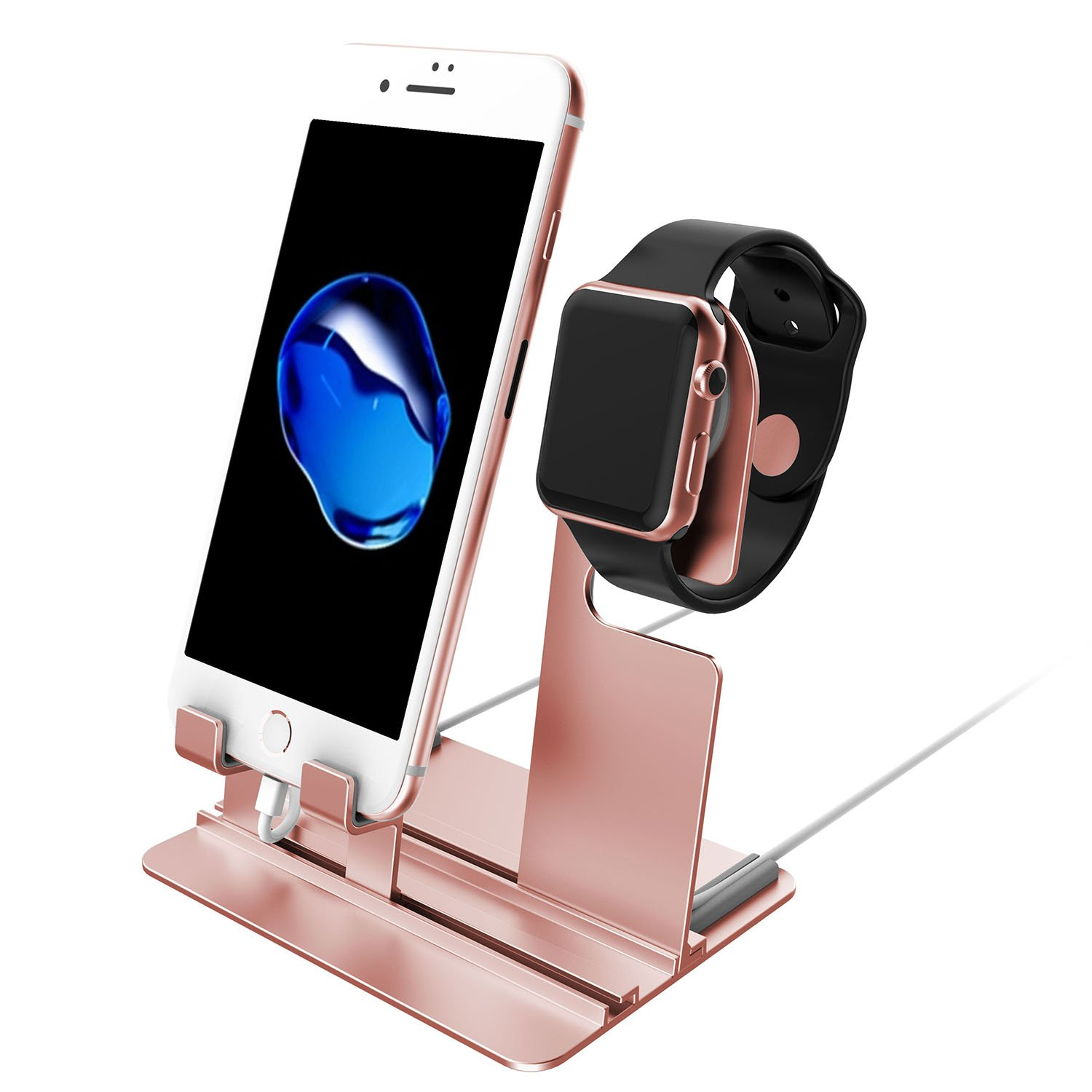 Apple Watch Stand, Apple Watch Charging Holder, Qiandy Smart Watch Charging Docks Station Charger Stand for Apple Watch Series 3/2/1/iPhone X/8/8Plus/7/7 Plus/6S/6S Plus/AirPods/iPad (Pink) by Qiandy (Image #1)