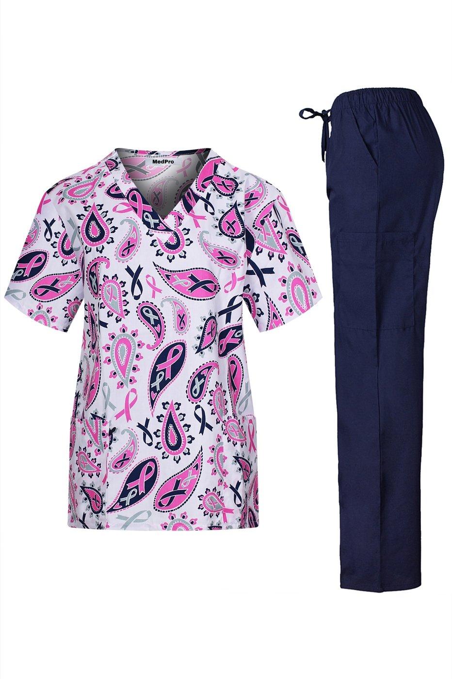 MedPro Women's Medical Scrub Set V Neck Top Cargo Pants Purple Navy 2X