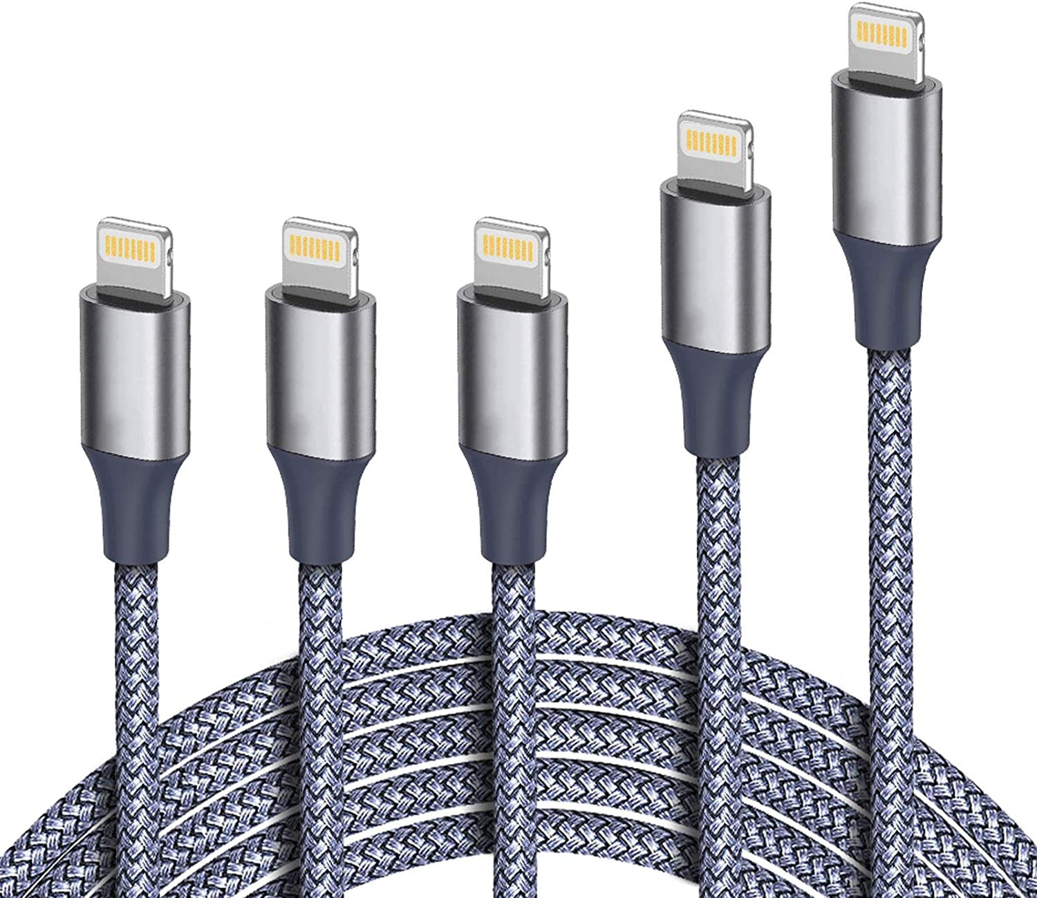 iPhone Charger, MFi Certified Lightning Cable 5Pack (3/3/3/6/10FT) Braided Nylon Fast Charger Cable Compatible Apple iPhone 11/Pro/Xs Max/X/8/7/Plus/6S/6/SE/5S/Air iPad/Mini/iPod (Gray)