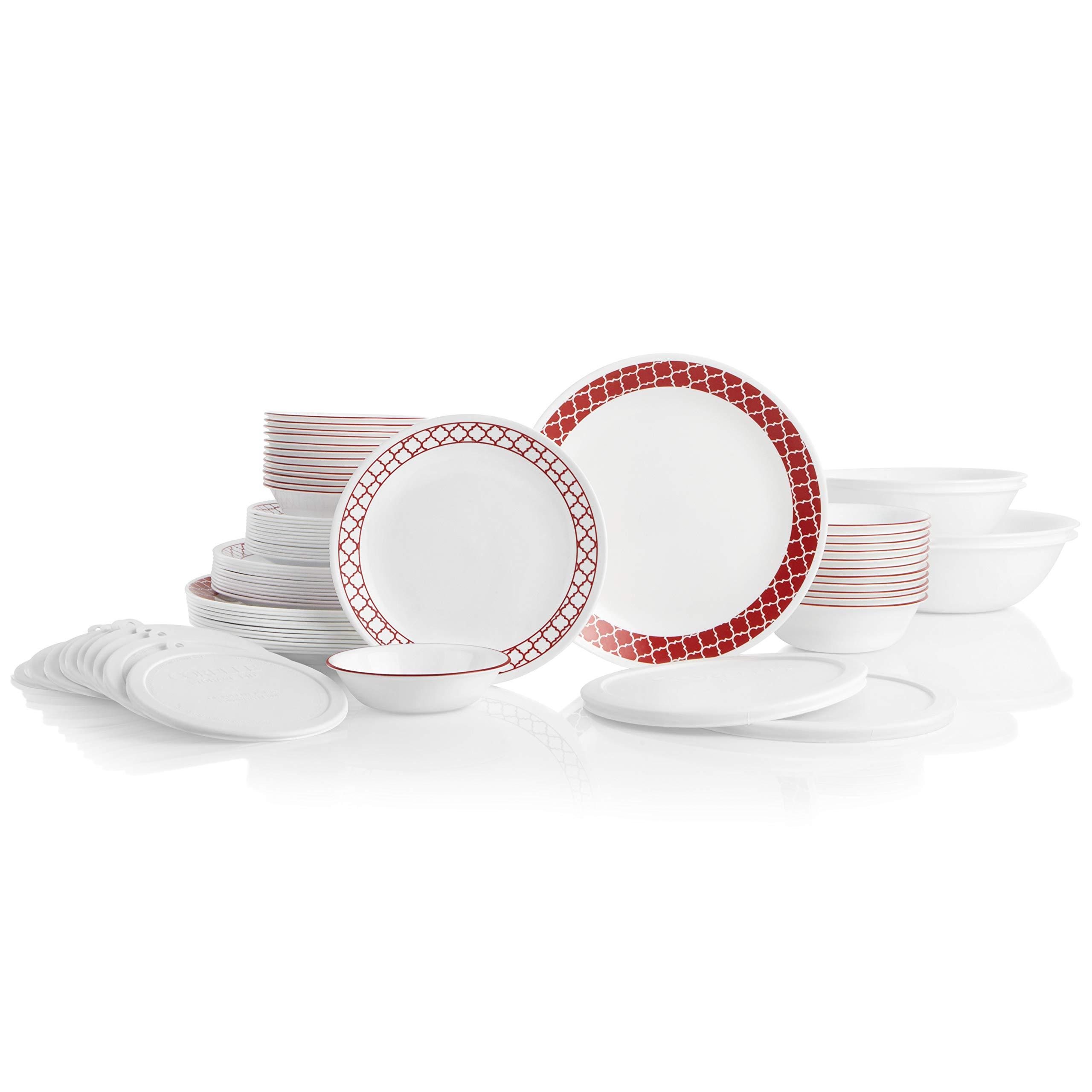 CORELLE 78-Piece Service for 12, Chip Resistant, Crimson Trellis Dinnerware Set,