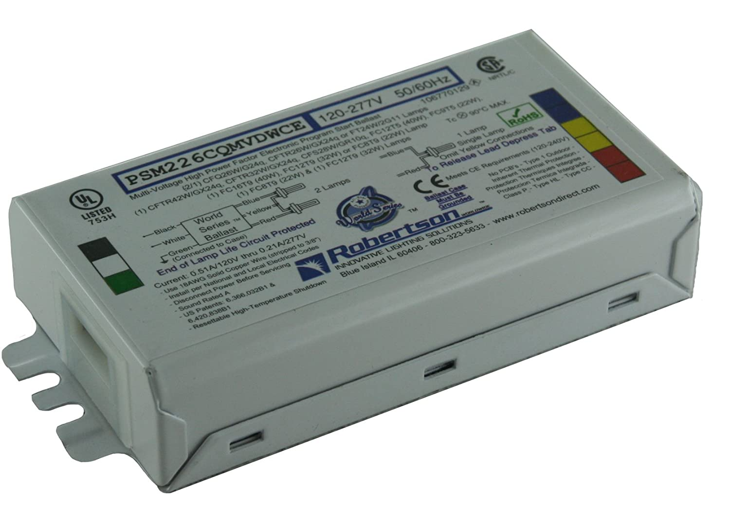 Amazon.com ROBERTSON 3P20145 Inidual Fluorescent eBallast 2 CFQ26W/G24q CFL L& Program Start 120-277Vac 50-60Hz Normal Ballast Factor HPF ...  sc 1 st  Amazon.com : robertson innovative lighting solutions - azcodes.com