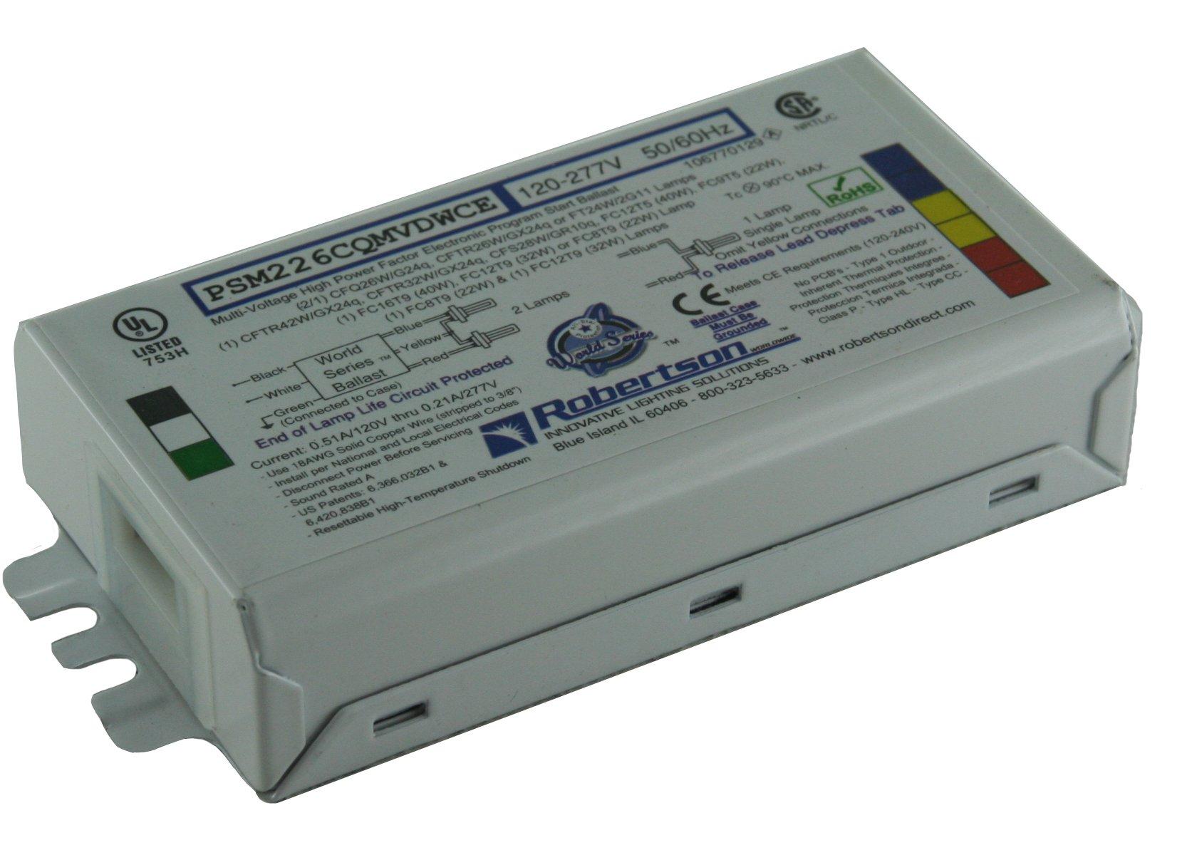 ROBERTSON 3P20145 Individual Fluorescent eBallast, 2 CFQ26W/G24q CFL Lamp, Program Start, 120-277Vac, 50-60Hz, Normal Ballast Factor, HPF, Model PSM226CQMVDWCEST (Replaces Model PSM226CQMVDWCE/S)