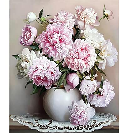 Amazon Yeefant Diy Digital Oil Painting Vase Pink Flowers Peony