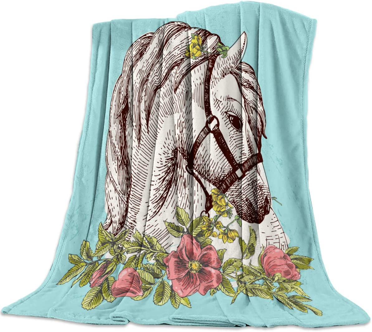 "Aomike Flannel Fleece Throw Blanket for Couch- 39"" x 49"", Turquoise Background Bohemia White Horse with Flower Blanket Super Soft Cozy Plush Microfiber Fluffy Blanket Lightweight Warm Bed Blanket"