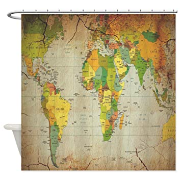Amazon cafepress vintage world map shower curtain cafepress vintage world map shower curtain decorative fabric shower curtain gumiabroncs Images