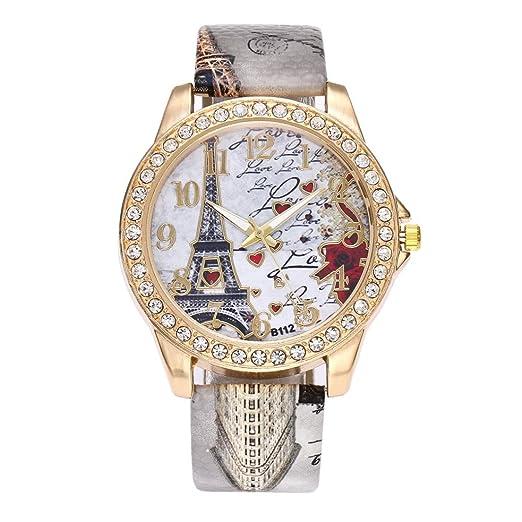 Logobeing Reloj de Pulsera de Cuarzo Cuero Vintage Paris Torre Eiffel Reloj de Mujer Barato de Moda (Gris): Amazon.es: Relojes