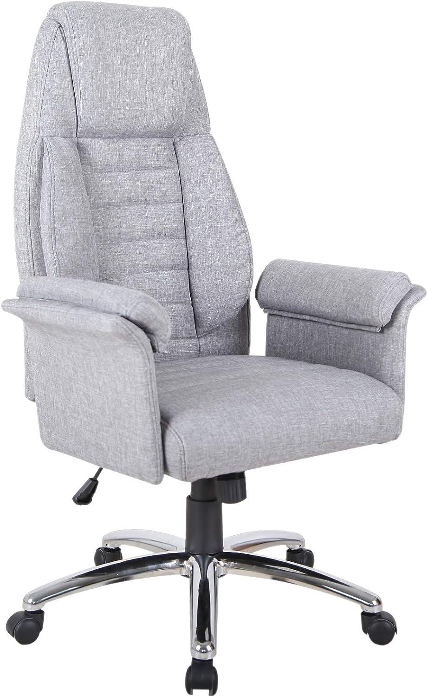 Amazon Com Homcom High Back Fabric Executive Leisure Home Office Chair With Arms Light Grey Furniture Decor