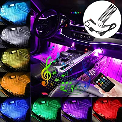 Carantee Car LED Strip Light, Interior Car Lights with Remote 4pcs 48 LED with Car Charger: Automotive