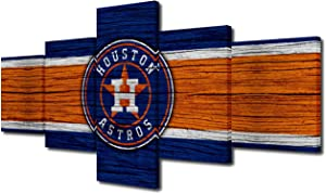 TUMOVO American Sports Canvas Wall Art Major League Baseball Picture Houston Astros Team Logo Prints Painting House Modern Decor for Living Room 5 Panel Framed and Stretched Ready to Hang 50