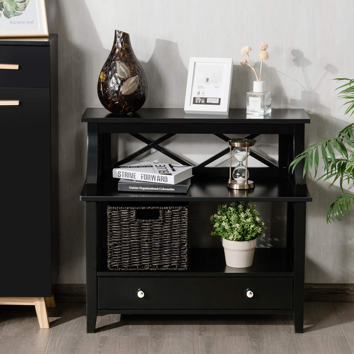 Giantex 3 Tier Console Table with a Large Drawer, Sofa Side Table with Storage Shelves, Entryway Hall Table Furniture, Display Rack Stand for Living Room Bedroom Study, Easy Assembly Black