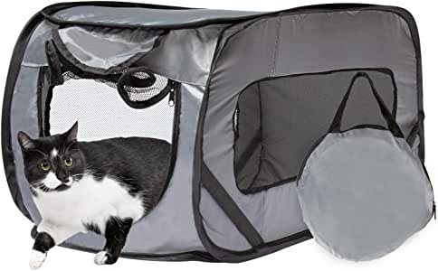 Downtown Pet Supply Foldable Travel Kennel Cat Tent Enclosure for Pets with Carry Case, Perfect as Collapsible playpen, Carrier, or Crate (Giant, Grey)