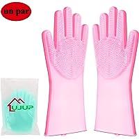 UJUP Guantes de Silicona Lavar Platos: Guante de limpieza mágico con cepillo de esponja - Herramientas de limpieza reutilizables para plato/baño/perro/gato/coche (Rosa)