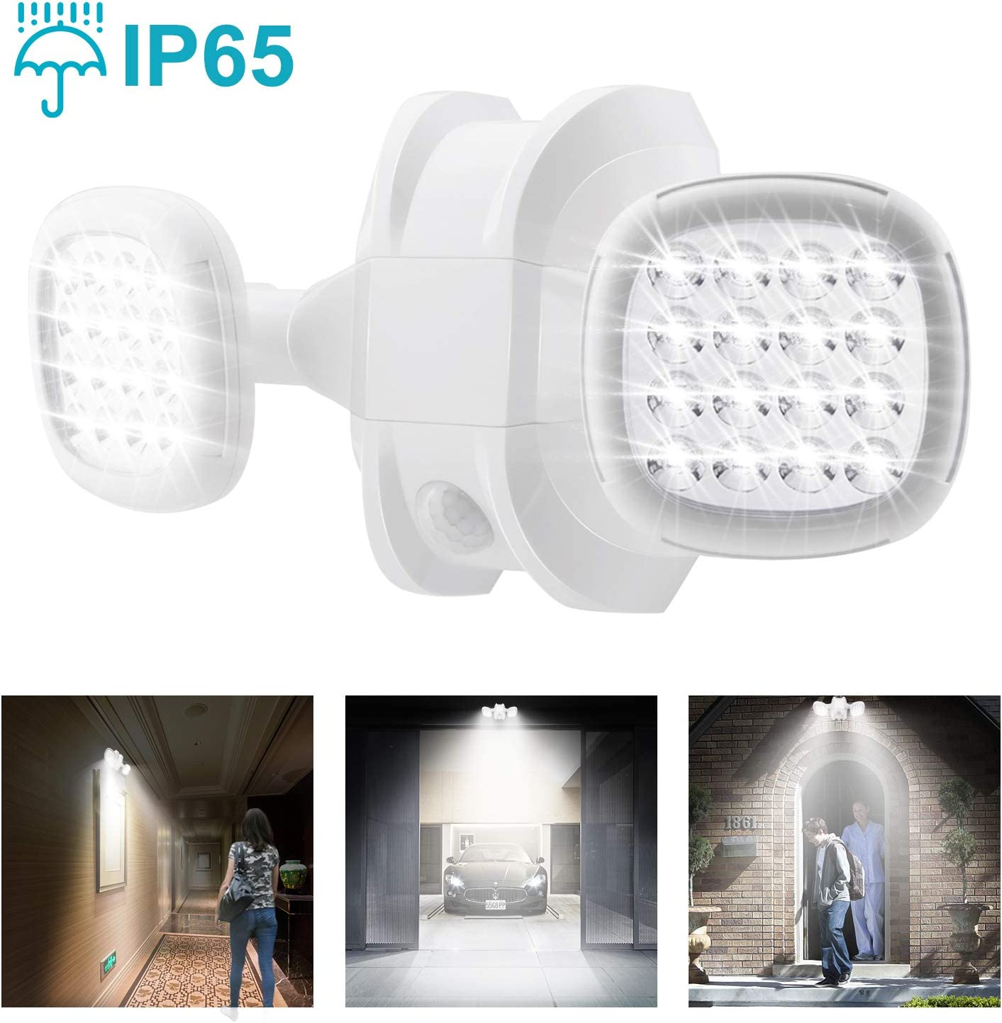 Brown BIGLIGHT Motion Sensor Light Outdoor Battery Operated 1Pack IP65 Waterproof Wireless Outdoor Security Flood Light Sensor Auto On Off for Porch 6000K White Patio,Stairs Garage